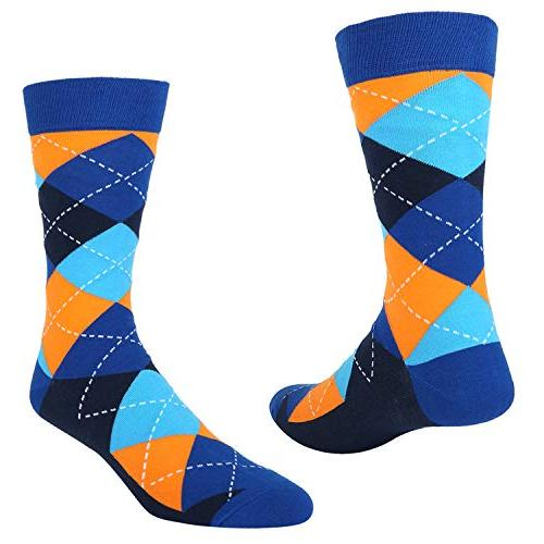6 Colorful Argyle Crew Sock, Classic Cotton Casual Funky Socks