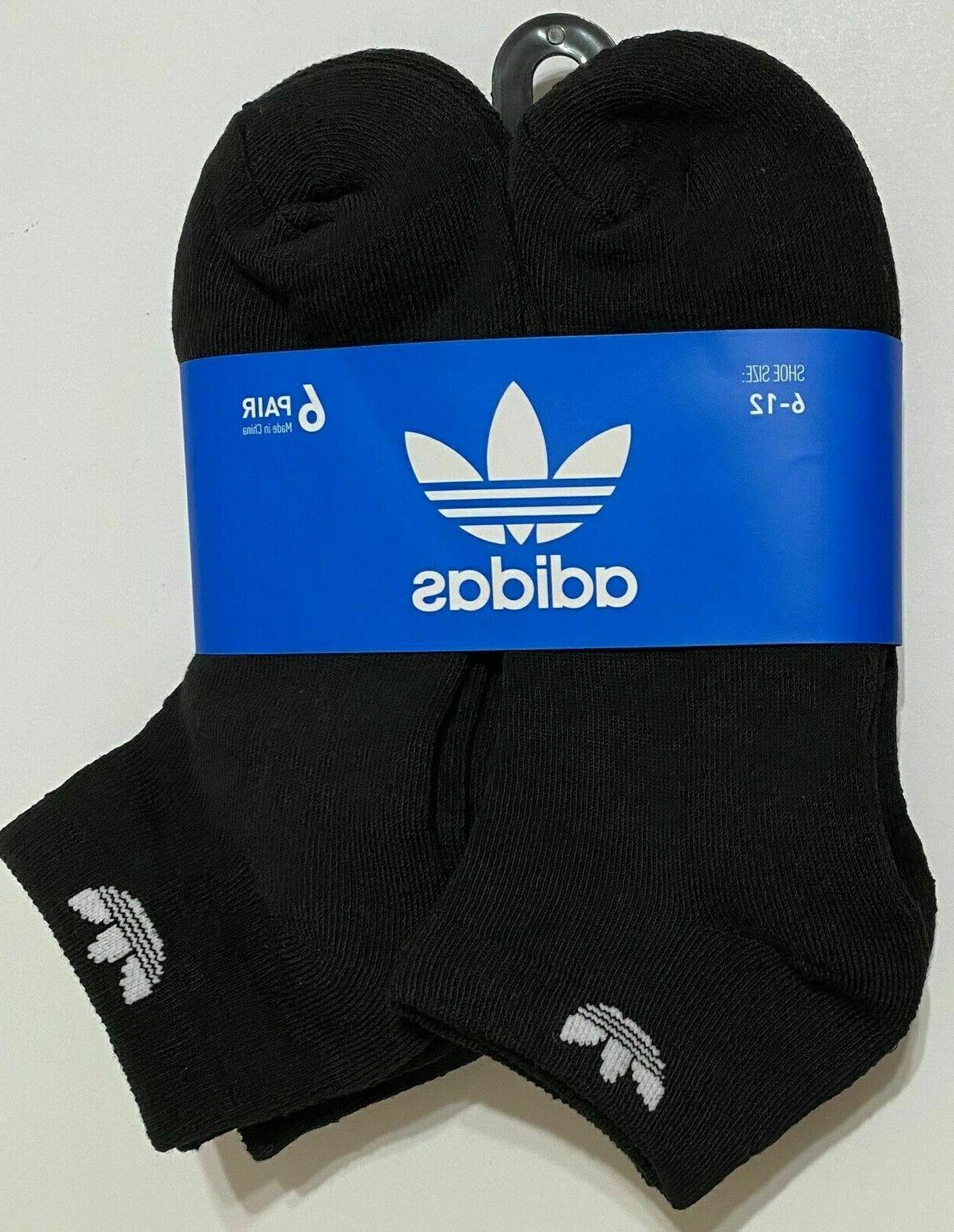 6 Pack Adidas TREFOIL WHITE LOGO MEN Moisture DRY LOW CUT Bl