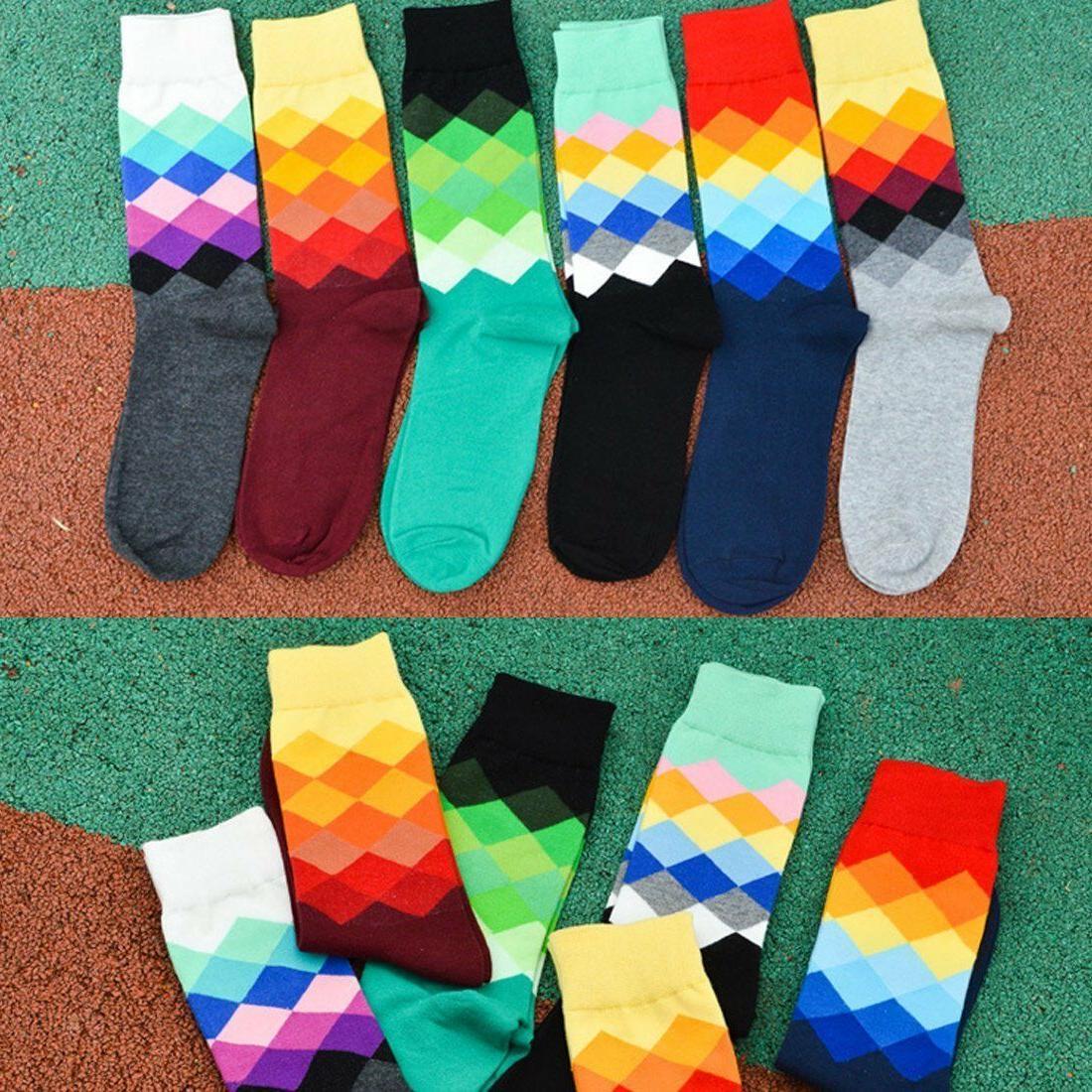 Mens Argyle Socks 6-Pair Pack Colorful Rainbow Fits Shoe Size 6-12