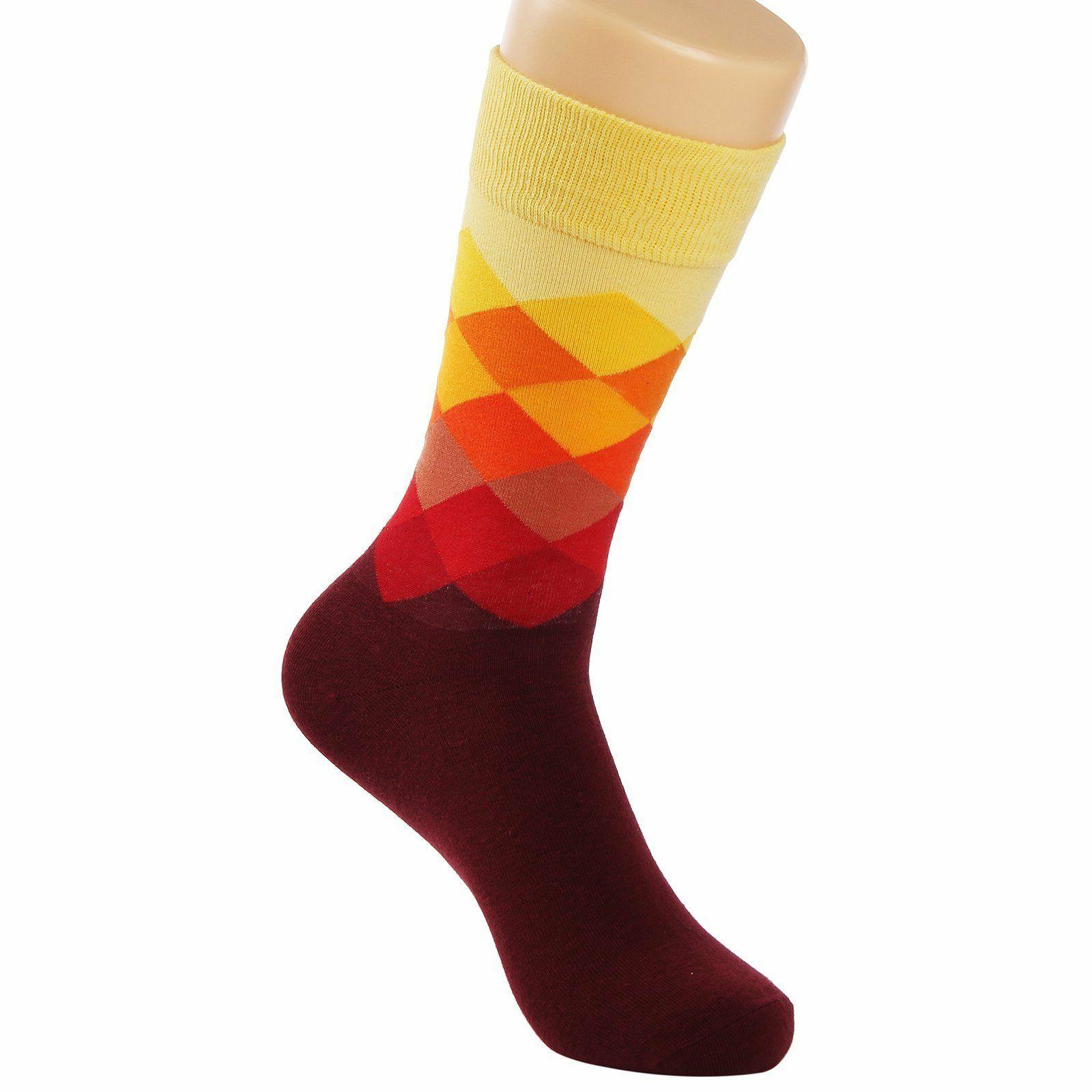 Mens Dress Socks 6-Pair Funny Colorful Rainbow Shoe Size 6-12