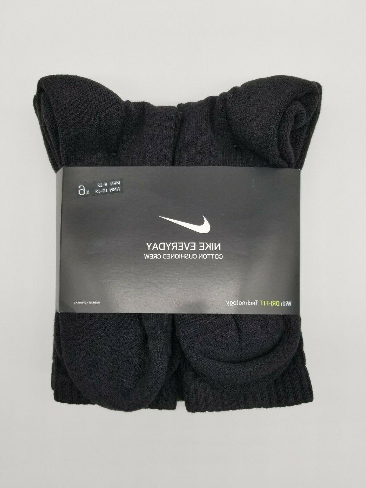 Nike 6 Pairs Cotton Cushioned Socks Size Black