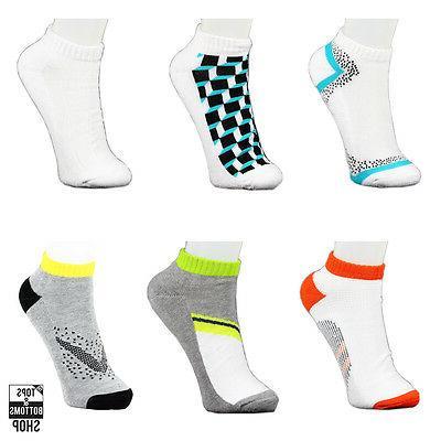 6 Pairs James Fiallo Men's White w/ Pattern Sports Peds Low-
