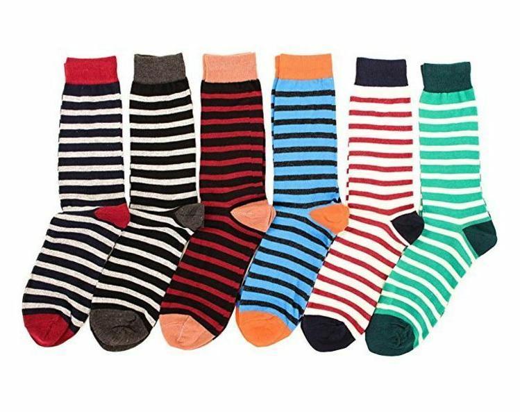 6 Pairs Mens Dress Socks Prints Pattern