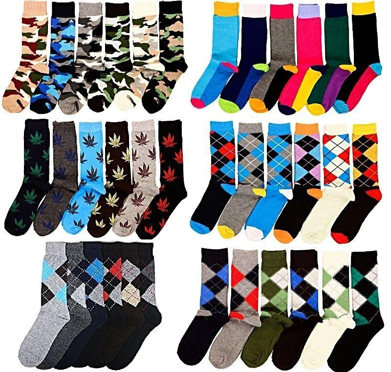 6 pairs mens fashion dress socks multi