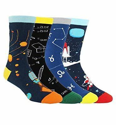 Happypop Men Socks, Moisture Wicking Galaxy 4Pk