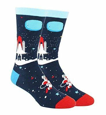 Happypop Men Socks, Moisture Galaxy Space 4Pk Size8-14