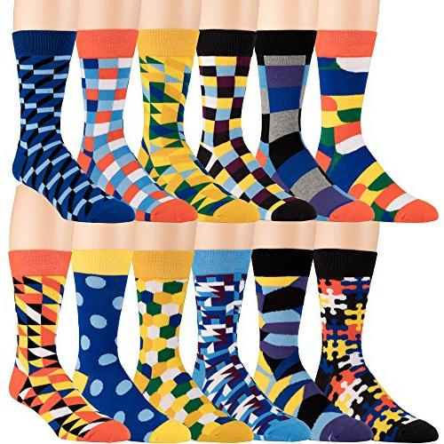 Men's Dress and Casual Socks - 12 Pack Fun Patterns and Co