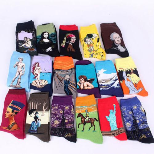 Art Painting Sock Novelty Artist Series Starry Night Mens Wo