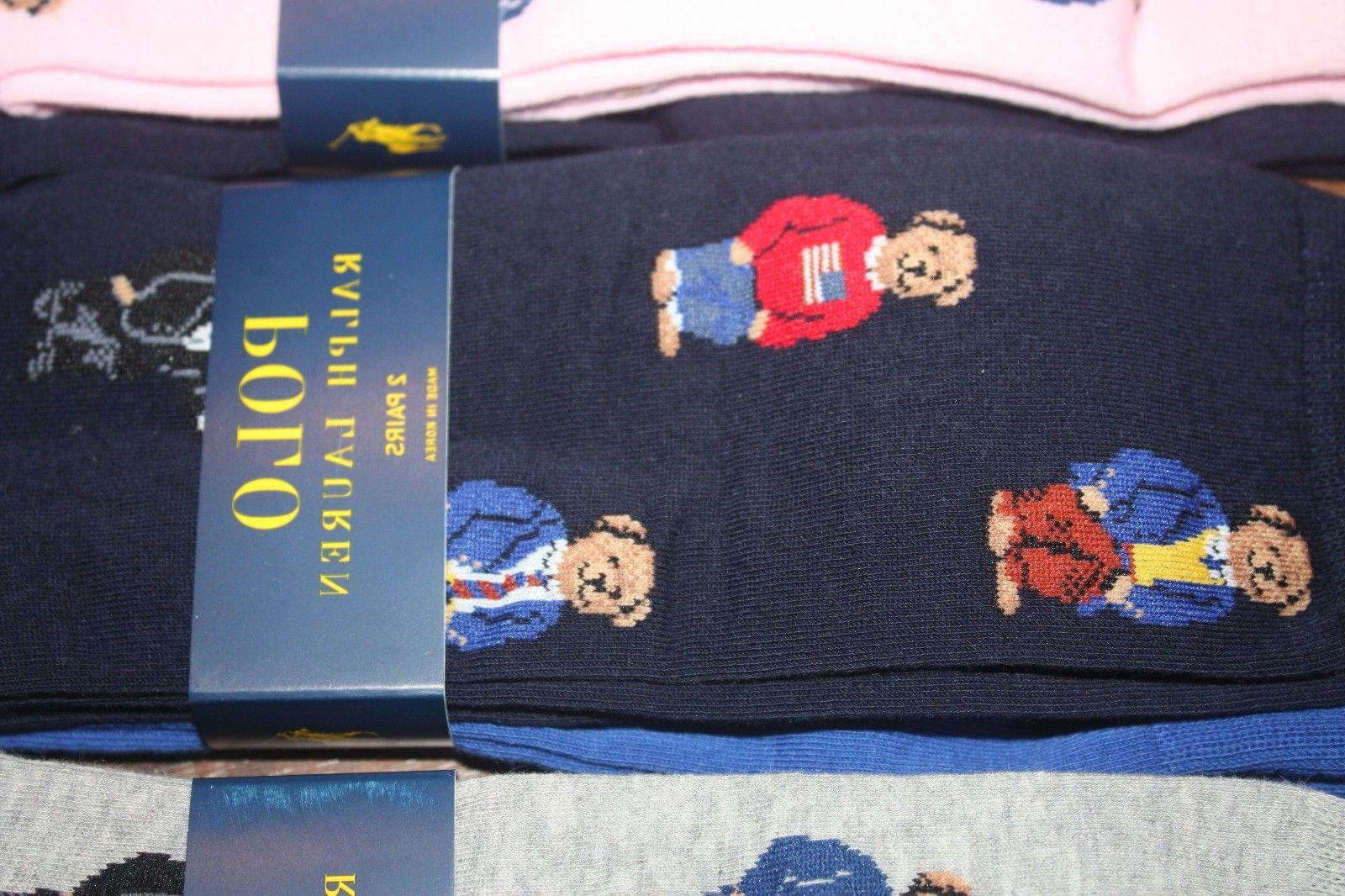 Brand New Polo Ralph Lauren Men's Bear Trouser 2-Pack Socks SHIP FREE US