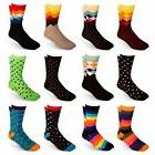 Men's Cotton Blend Socks Fun & Funky Patterns & Colors 12 Pa