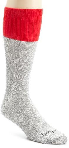 Dickies Men's 5 Pack Cotton Boot Crew Socks, Black Marl Red