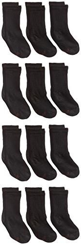 Hanes Ultimate Boys' 12-Pack Crew Socks, Black, 3/9/2017/Lar