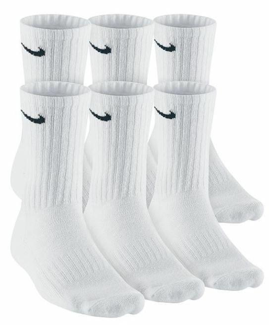 Nike Performance Cushioned White Crew Socks 6 Pack 6 Pairs N