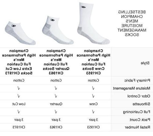 """Champion Dry® HIGH Performance Men's 3-Pack Crew Socks """"Made In USA"""""""