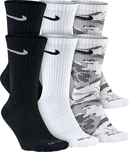 Nike Men's 6 Pair Pack Dri FitCushion Crew Socks SX5707 900