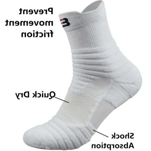 5 Pairs Men's Basketball Socks Athletic Crew Middle Ankle So