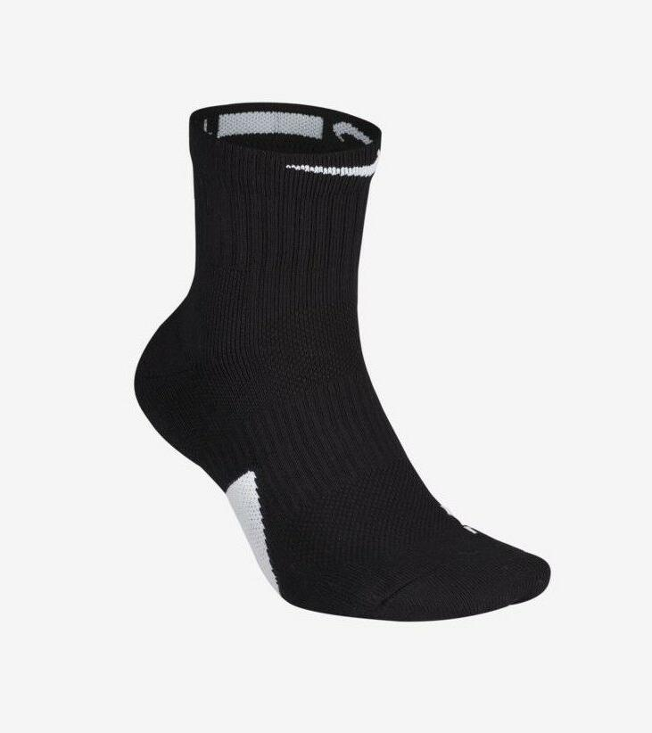 Nike Elite Mid Basketball Socks Black/White Crew Dri Fit Men