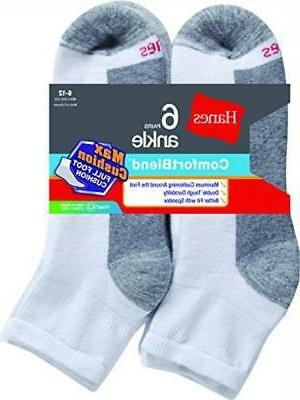 Hanes Max Cushion Ankle 6-Pack White