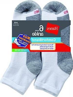 df566d0d5d81 Hanes Men's FreshIQ ComfortBlend Max Cushion Ankle Socks