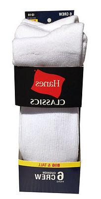 Hanes Men's BIG & TALL 6 paris cushion Crew white socks fit