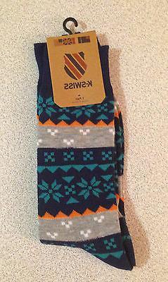 K-Swiss Men's Crew Socks 1 Pair 9-12 New Multi-Color