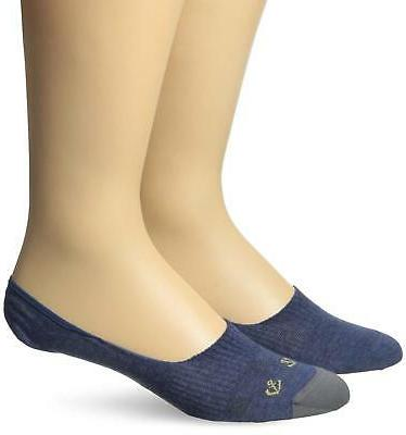 Dockers Men's 2-Pairs Stay-Put Grippers Liner Socks Navy Anc