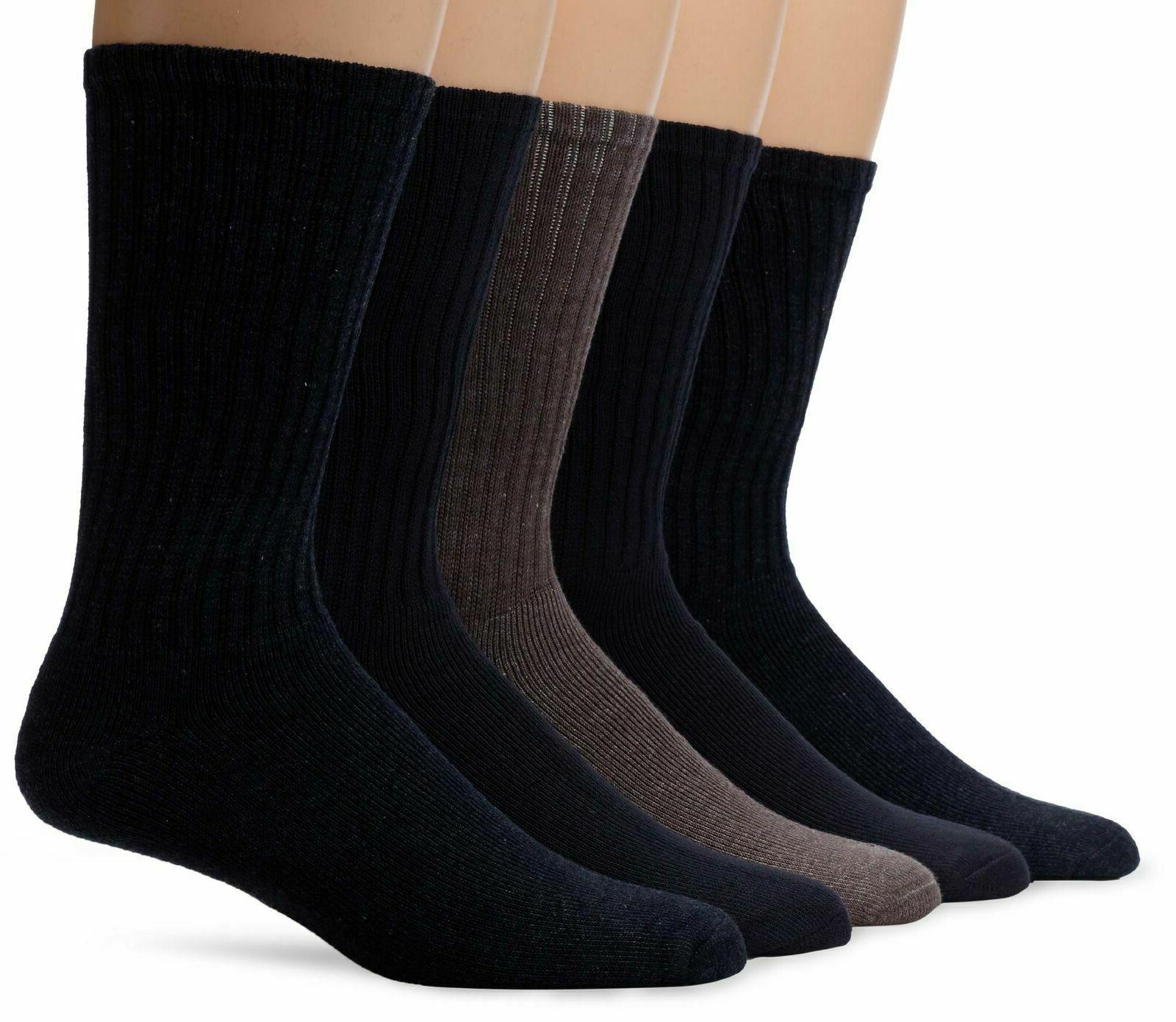 Dockers Men's 5 Pack Cushion Comfort Sport Crew Socks Navy/C