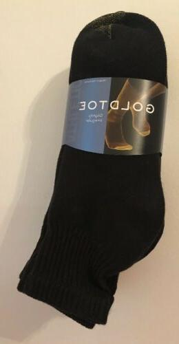 GOLD TOE Men's 6 PAIR Quarter Socks BLACK Cotton