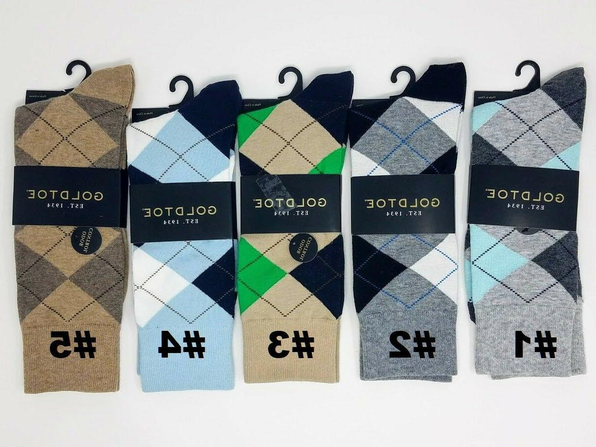 GOLD TOE Men's Argyle Crew Dress Socks, 10-12, Multi-Color,