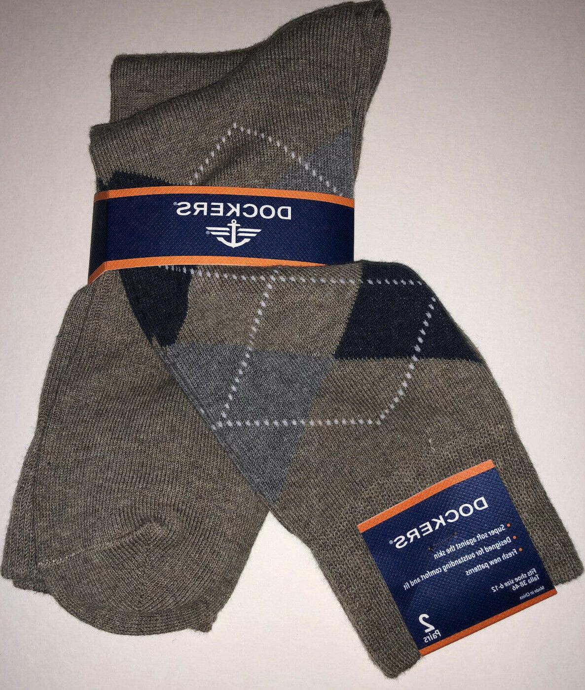 Dockers Men's Argyle Crew Socks 2 Pair Assorted 245 KHAKI HE