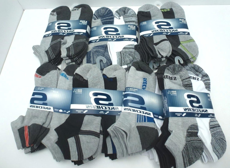 SKECHERS Men's Athletic Low Cut Sock*Gray/Black/White 6 Pair