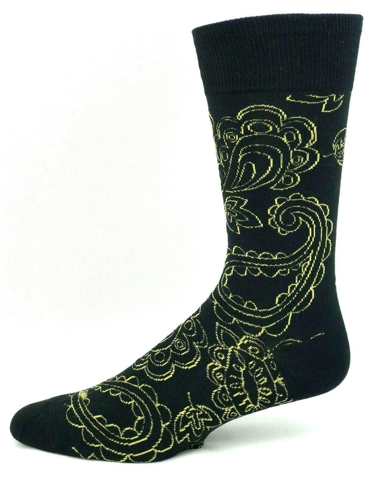 Yo and Gold Pattern Crew Dress Socks