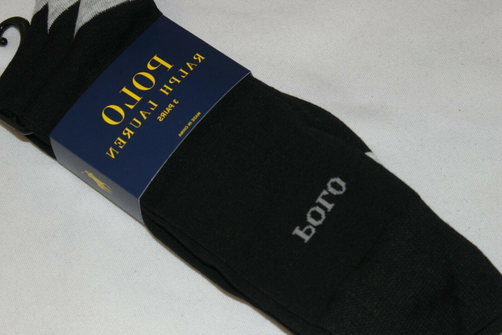 Polo Ralph Lauren Men's Cotton Blend Black Dress Socks NWT 3