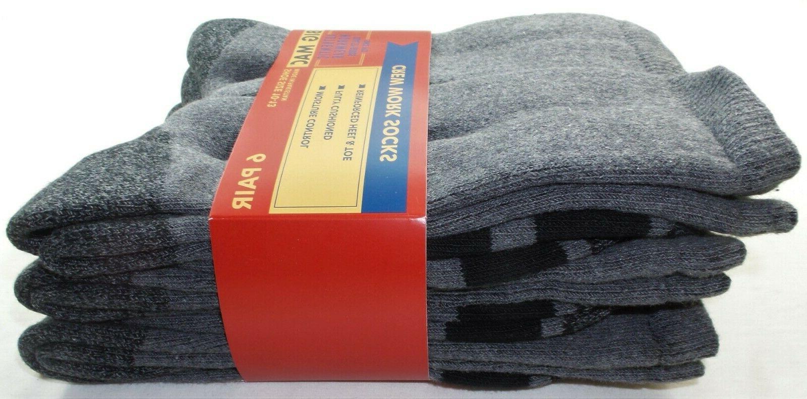 Big Mac Boot Work Socks 6 Pack Grey Cotton Cushioned
