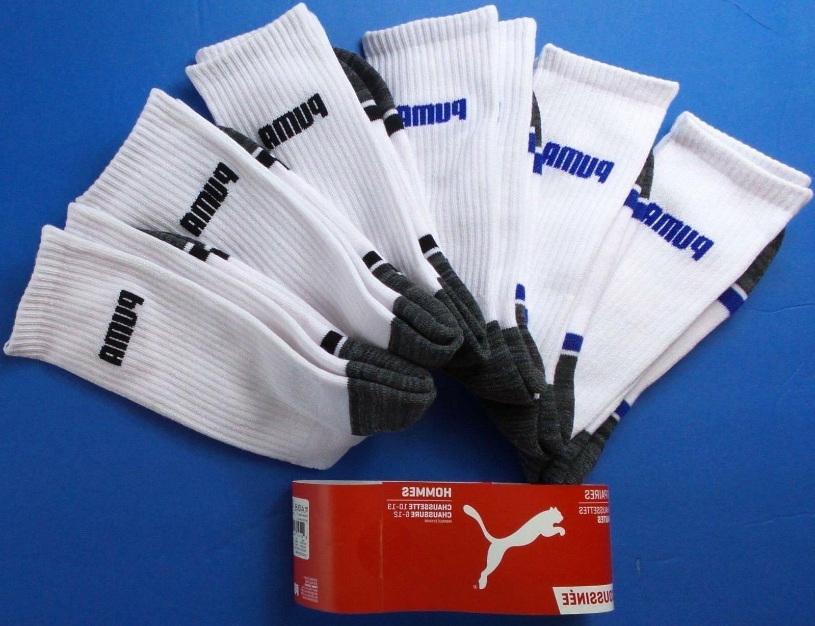 Puma Men's Crew Socks Large 6 Black Blue Cushioned Mesh