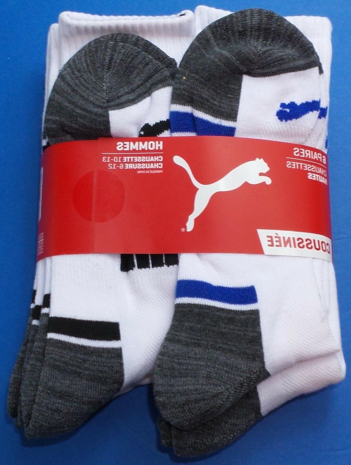 Puma Crew Socks Large Black Blue Cushioned Stretch Mesh
