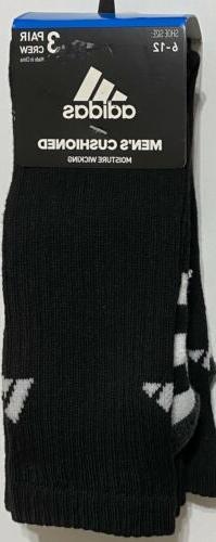 Adidas Men's Cushioned 3-Pair Crew Socks Black/White/Gray 76