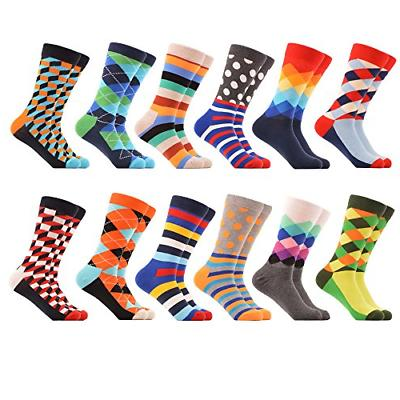 WeciBor Men's Dress Party Colorful Funny Cotton Crew Socks 1