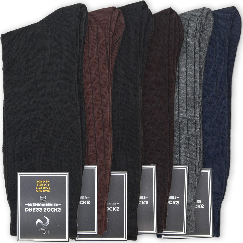 6-Pack Men's Dress Socks | Mens Mid Calf Solid Black Gray Br