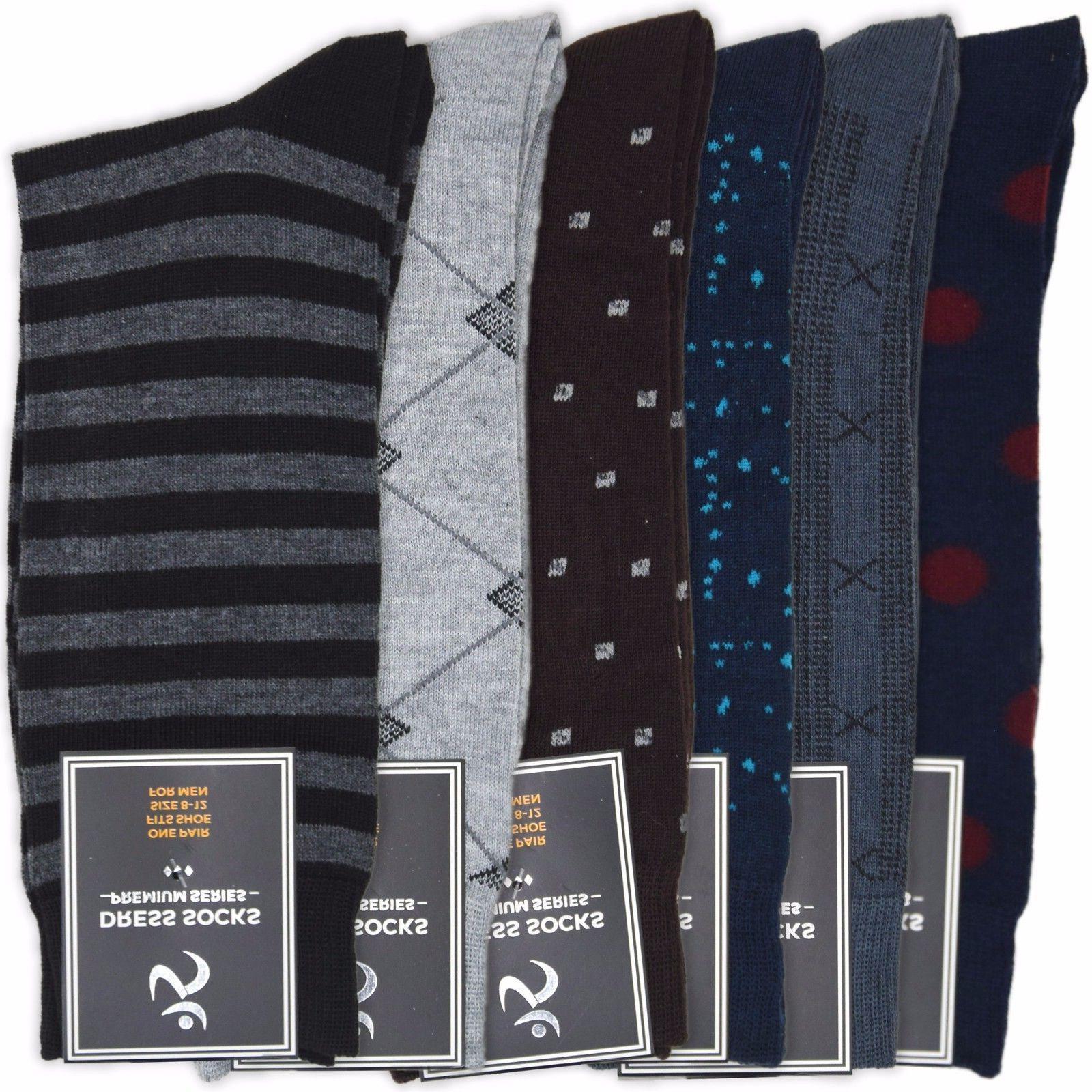 Men's Dress Socks 6-Pack | Mens Mid Calf Solid Black Gray Br