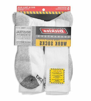Dickies Men's Dri-Tech Comfort Crew Work Socks White NWT