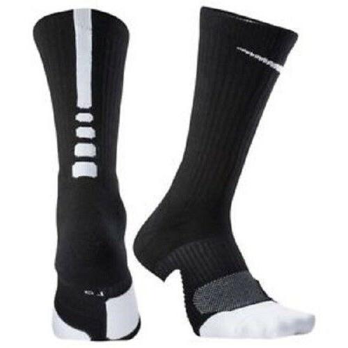 Nike, Men's Elite 1.5 Black Cushioned Basketball Socks Mens