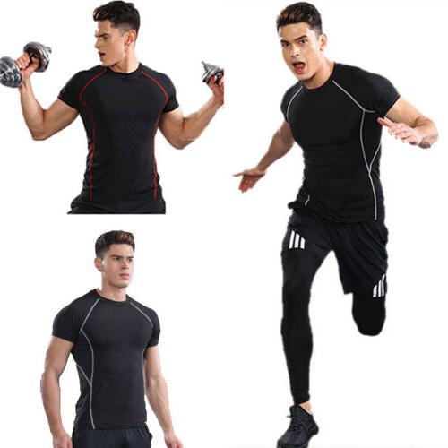 Men's Gym Running T-Shirts Fitness Training Quick Dry Stretc