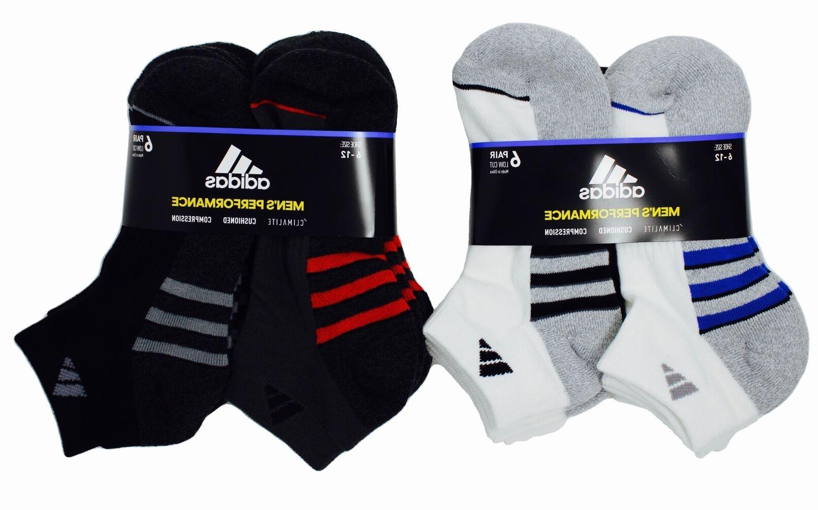 Adidas Men's Low Cut Socks Performance Climalite Cushioned,