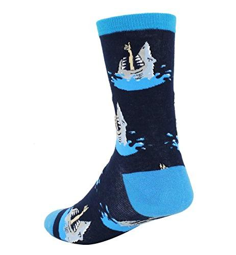 Men's Novelty Shark Crew Socks Colorful Cool Halloween Dress Socks