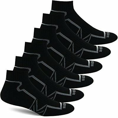 BERING Men's Performance Athletic Ankle Running Socks 6 Pair