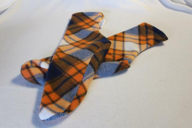 Men's Polar Fleece Socks Slippers Blue Orange Argyle Bronco
