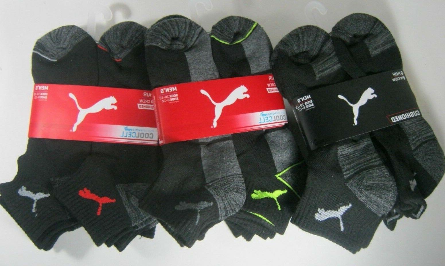 Puma Men's Socks 6 Pairs Quarter 10-13 Athletic Moisture Con