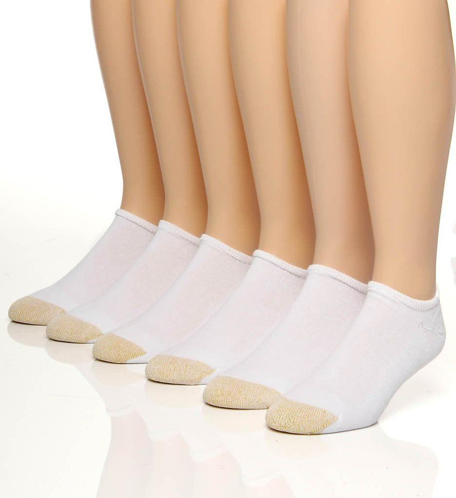 Gold Toe Men's White Cotton No Show Athletic Sock 6 pair - S