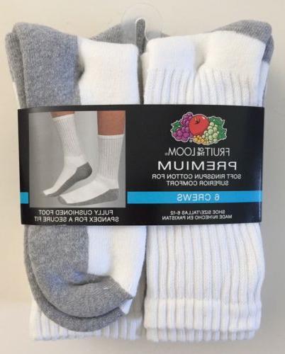 Fruit of the Loom Men's White Crew Socks 6 Pairs Premium Siz